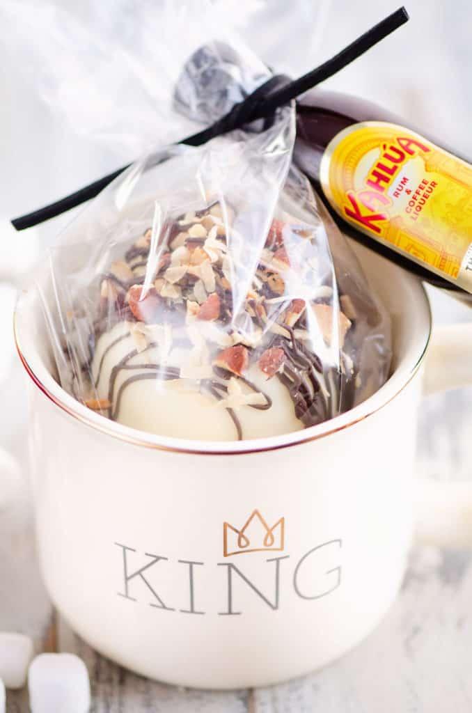 boozy hot cocoa bomb gift in mug