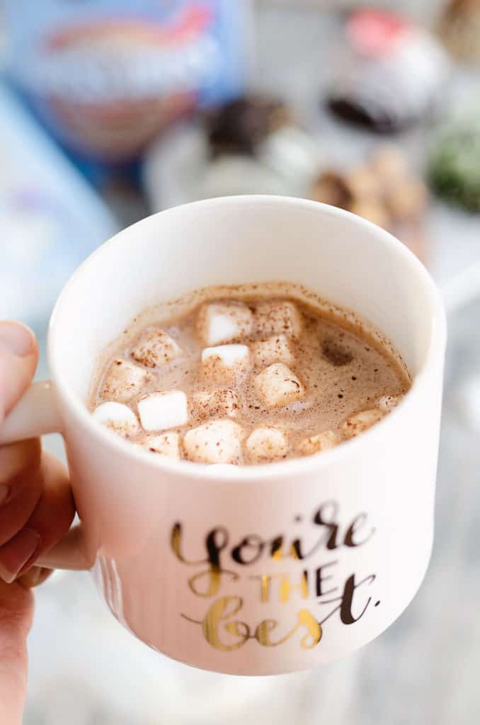 mug of hot chocolate made from hot cocoa bomb