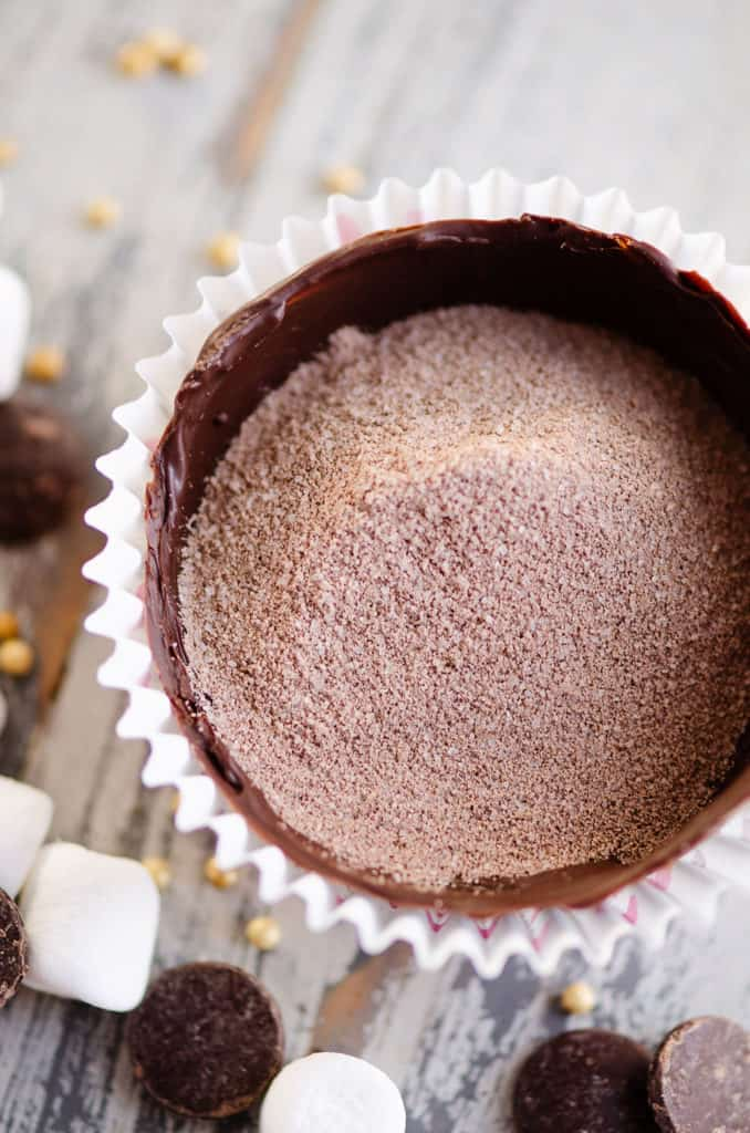 hot cocoa bomb chocolate shell filled with cocoa mix