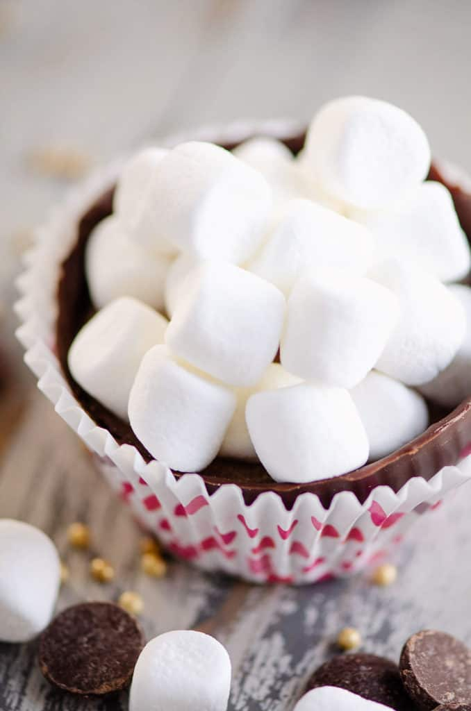 hot cocoa bomb chocolate shell filled with mini marshmallows