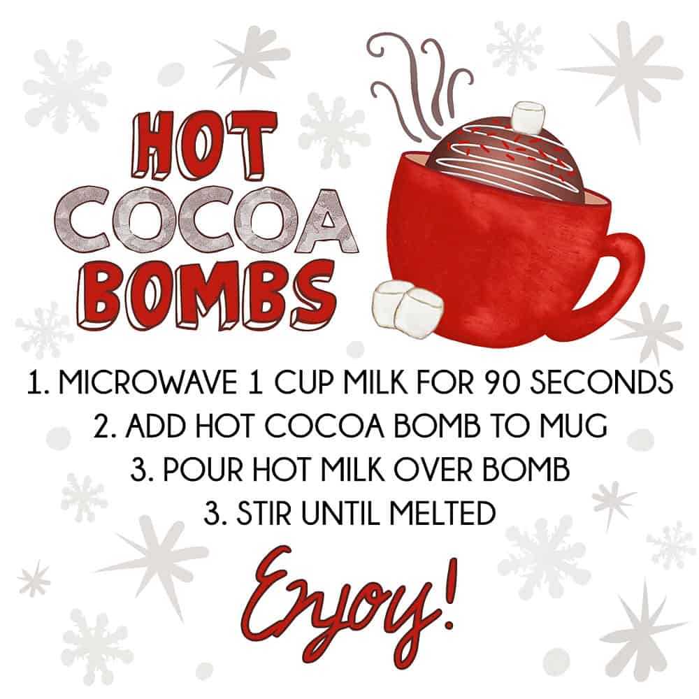 hot cocoa bomb instruction label free printable