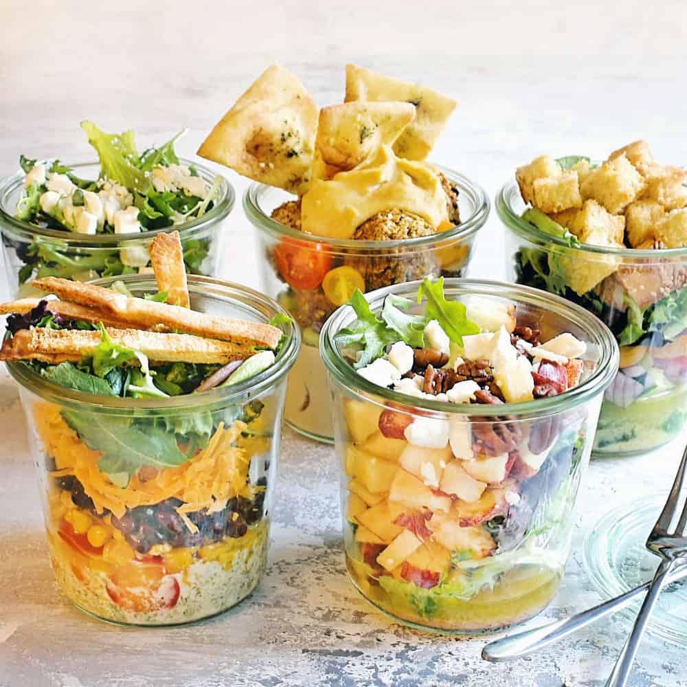 salads in glass jars