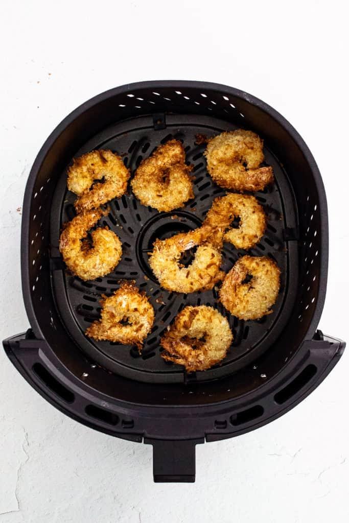 coconut shrimp in Air Fryer basket