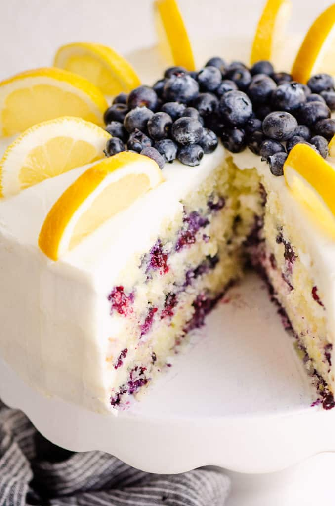 blueberry cake with slice of cake removed
