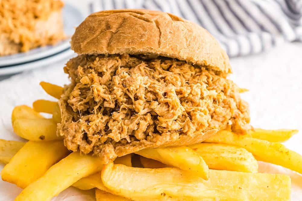 pulled pork sandwich on homemade fries