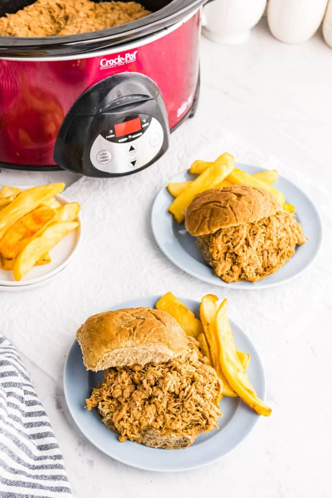 pulled pork sandwiches and fries with slow cooker