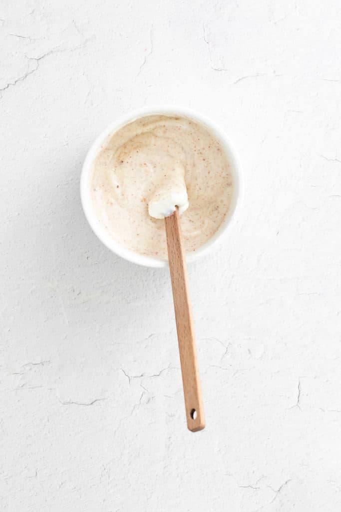 yogurt dipping sauce in small bowl