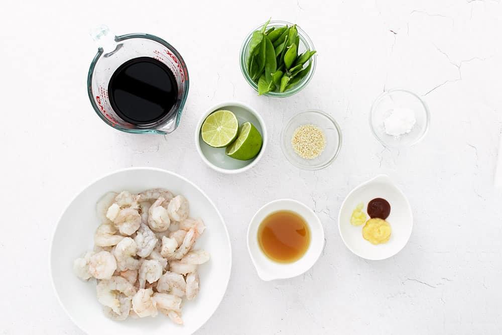 sesame shrimp ingredients in bowls