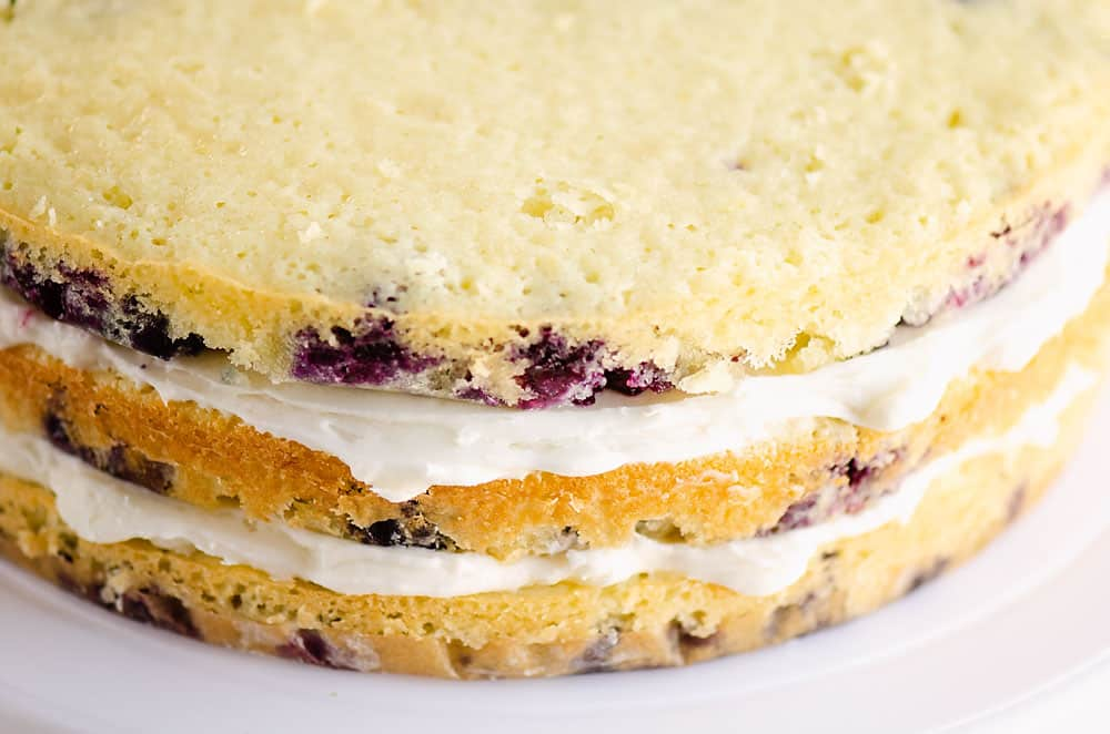 blueberry cake layered with buttercream