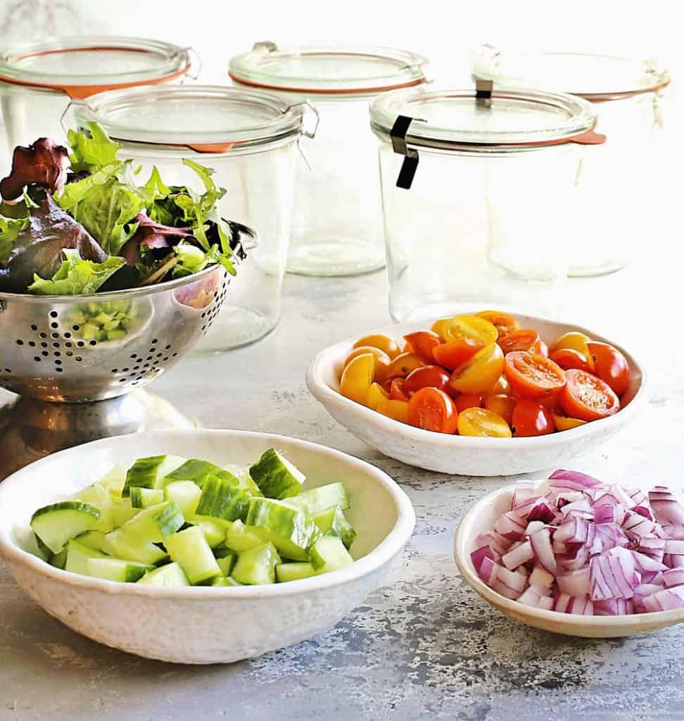 salad in a jar ingredients and glass jars