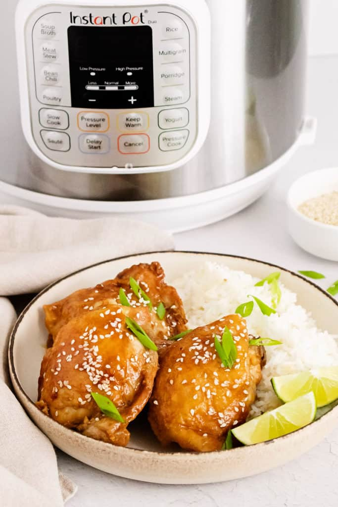 honey soy glazed chicken thigh in bowl on table with instant pot