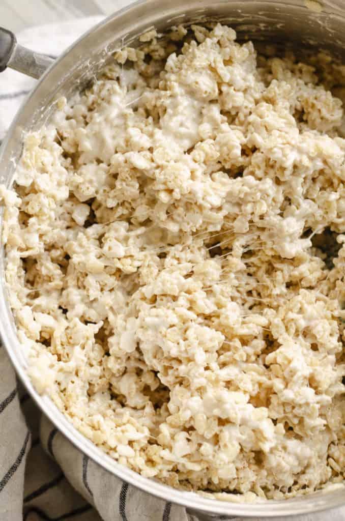brown butter rice krispie treats stirred in pan