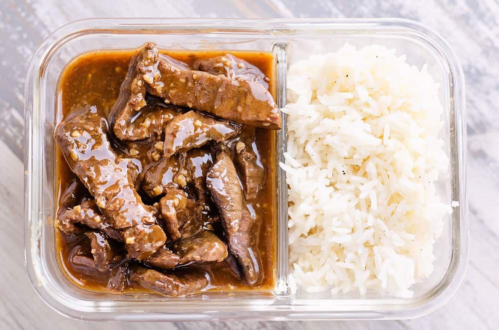 sesame ginger beef in meal prep container