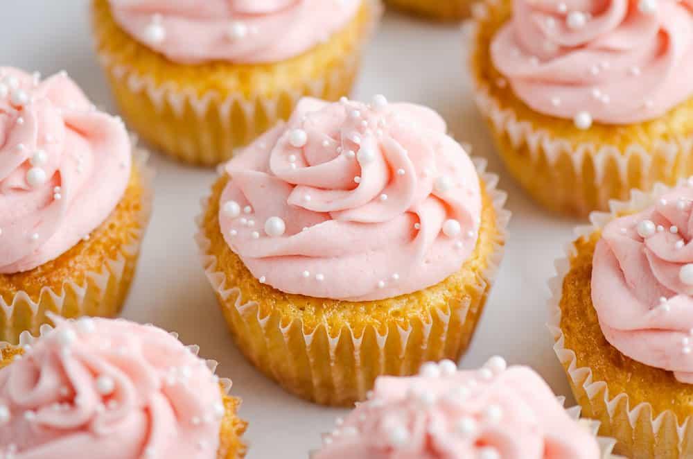 rhubarb honey cupcakes on marble table