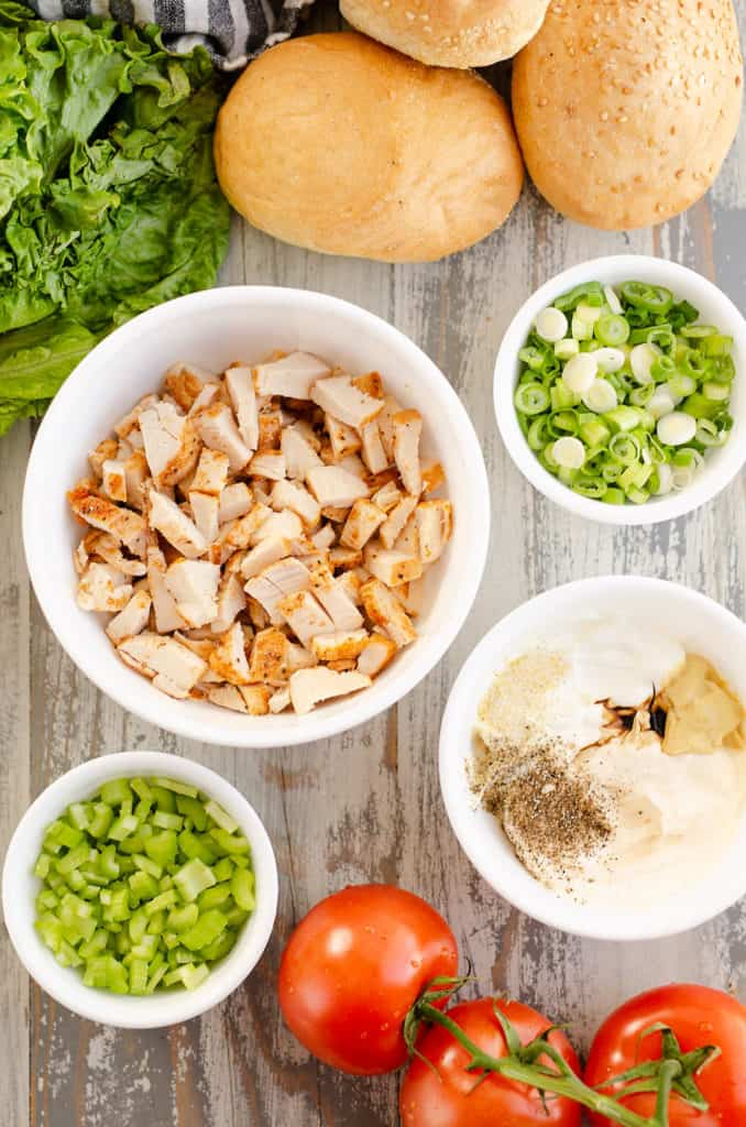 smoked chicken salad ingredients on table in bowls
