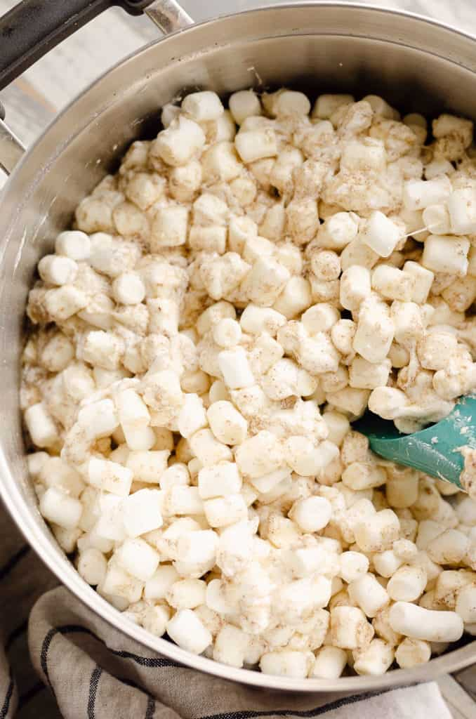 mini marshmallows stirred with brown butter