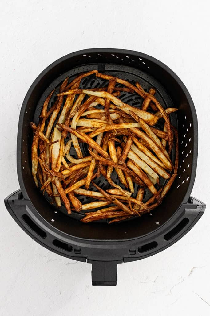 homemade french fries in air fryer basket