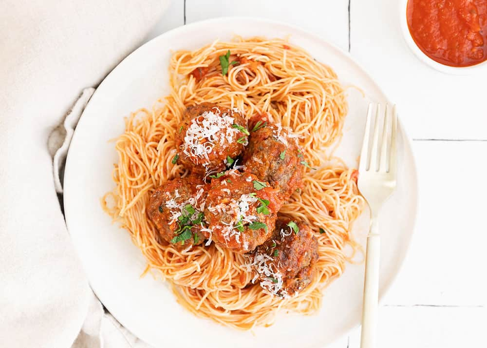 meatballs and pasta on plate