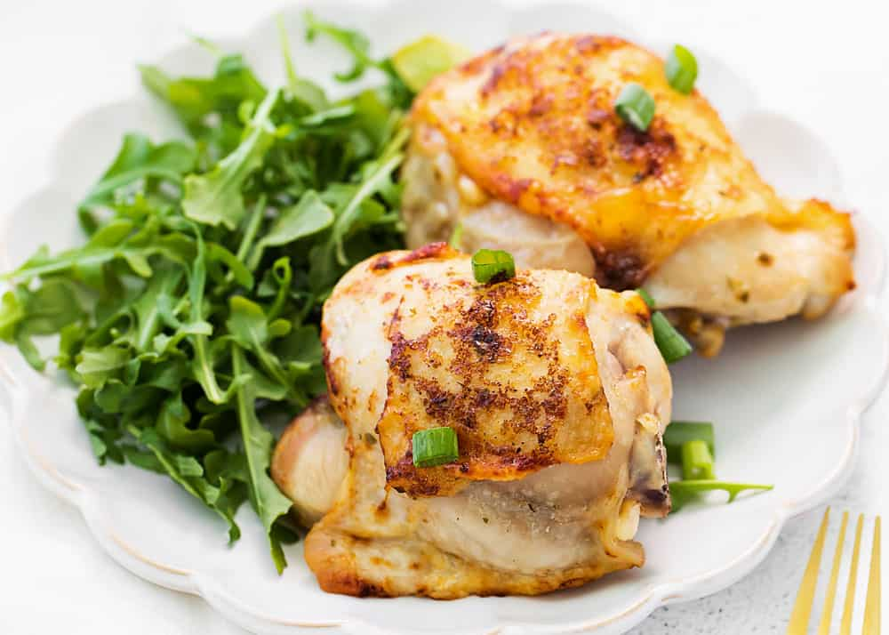 ranch chicken thighs on dinner plate