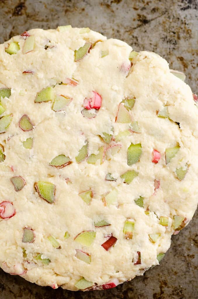 rhubarb scone dough pressed out on greased cookie sheet
