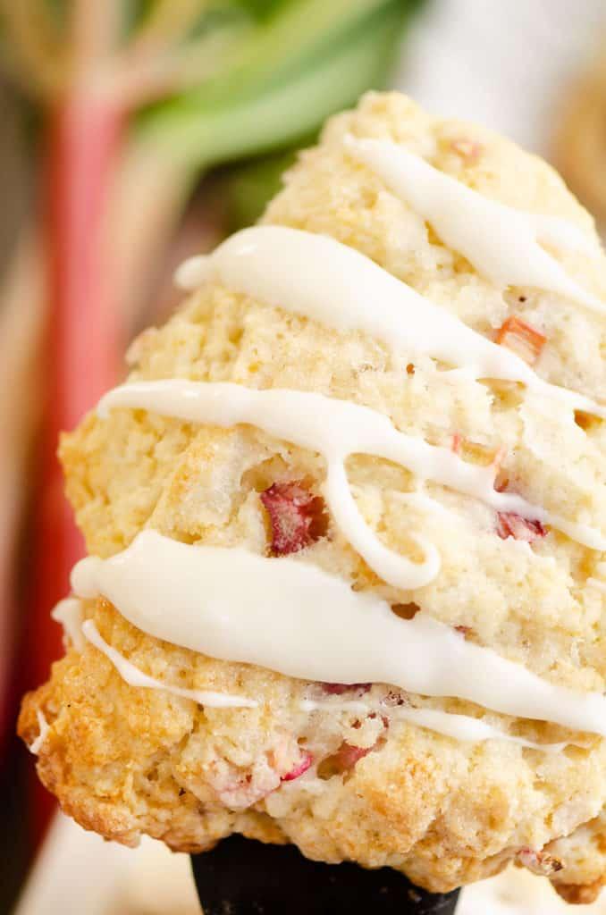rhubarb scone glazed with vanilla icing