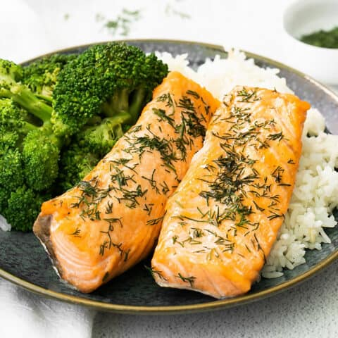dill salmon on a bed of rice