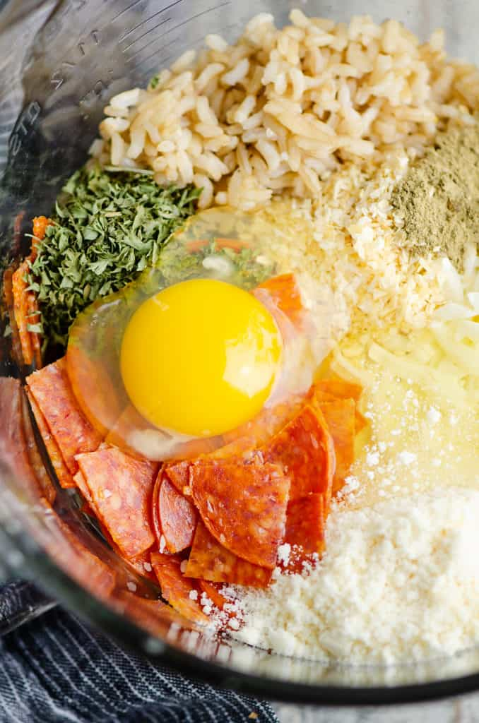 pizza rice muffin ingredients in bowl