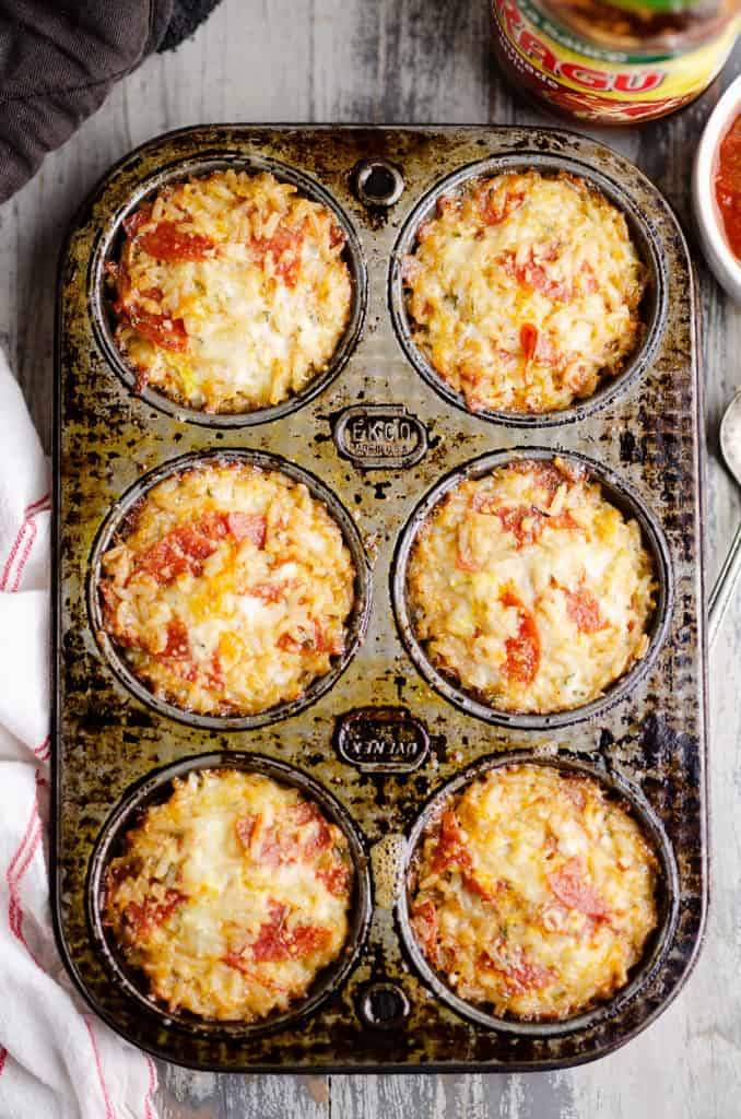 pizza rice cups in muffin tin