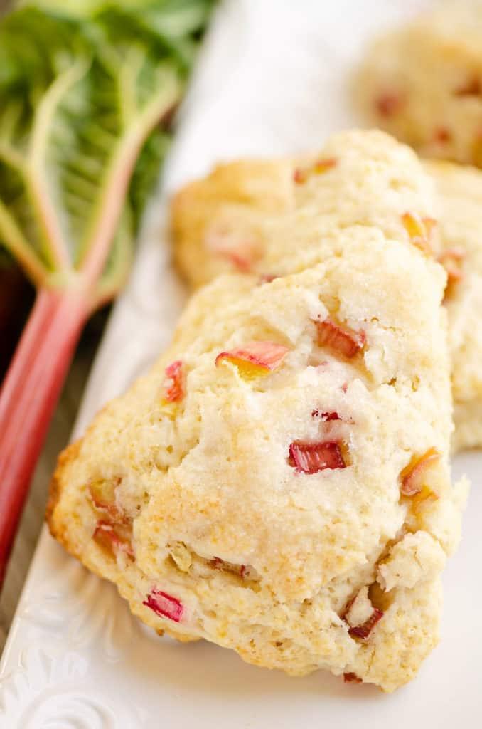 rhubarb scones on white platter