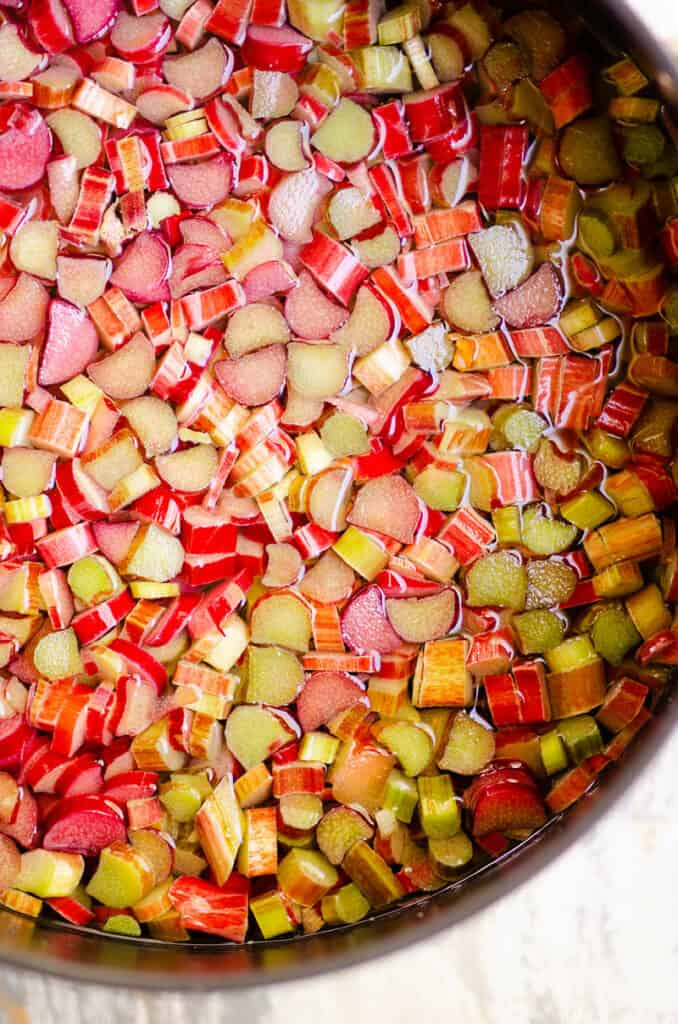 chopped rhubarb cooked in water