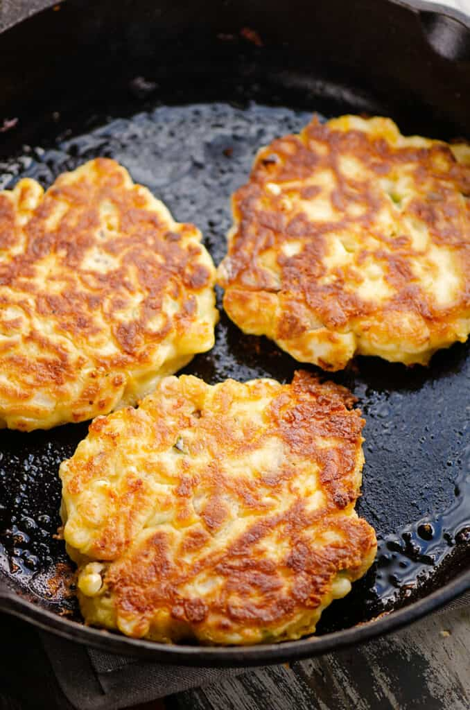 corn fritters in cast iron pan