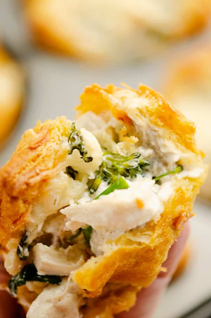 piece of chicken crescent cup with broccoli