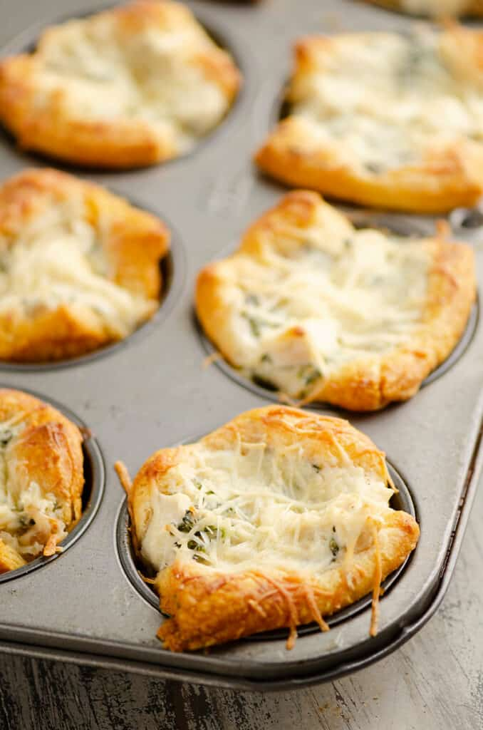 chicken broccoli crescent cups in muffin tin