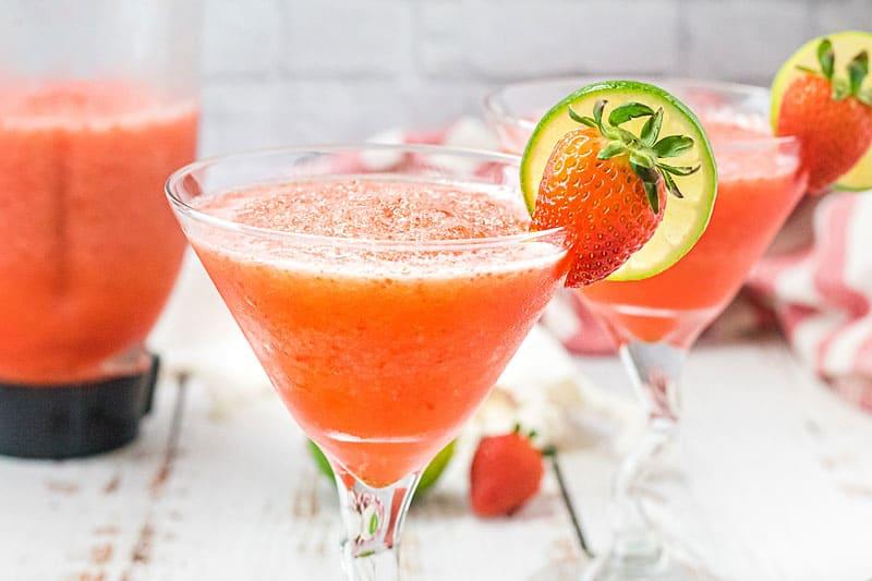 glass with strawberry daiquiri