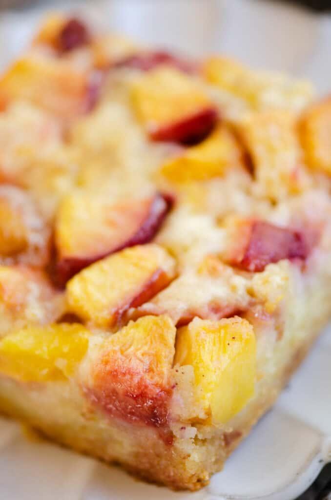 easy peach custard dessert on plate