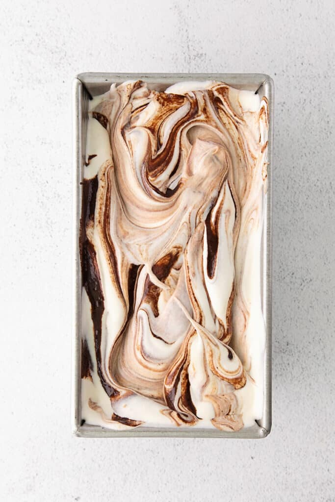 fudge swirled ice cream in loaf pan