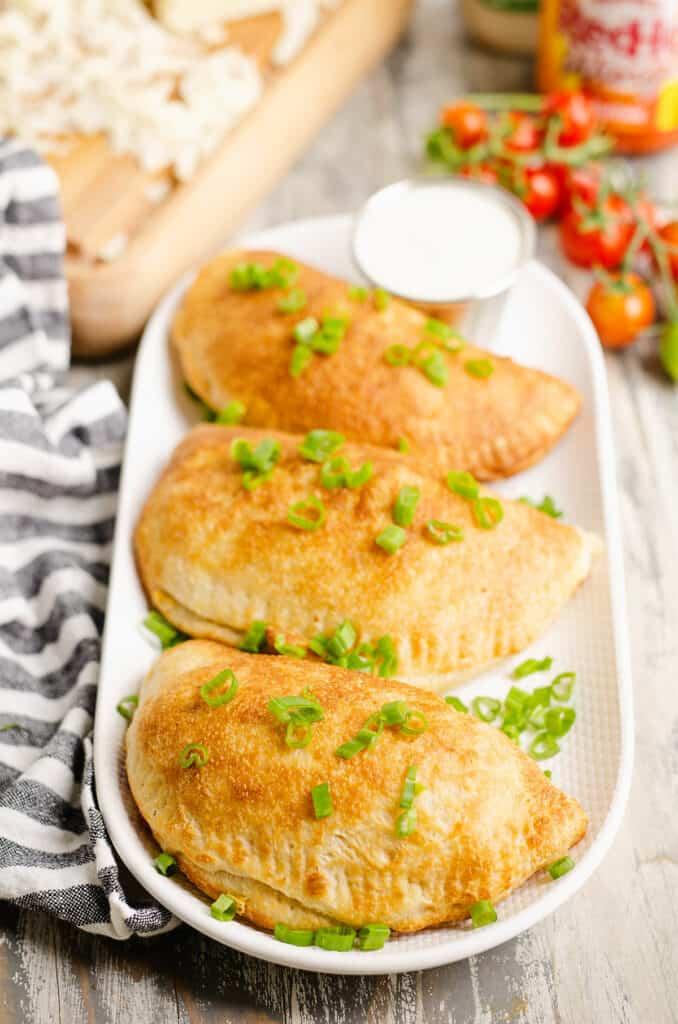 easy calzones on white platter