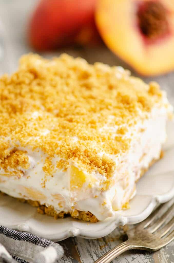 slice of peach dessert on plate