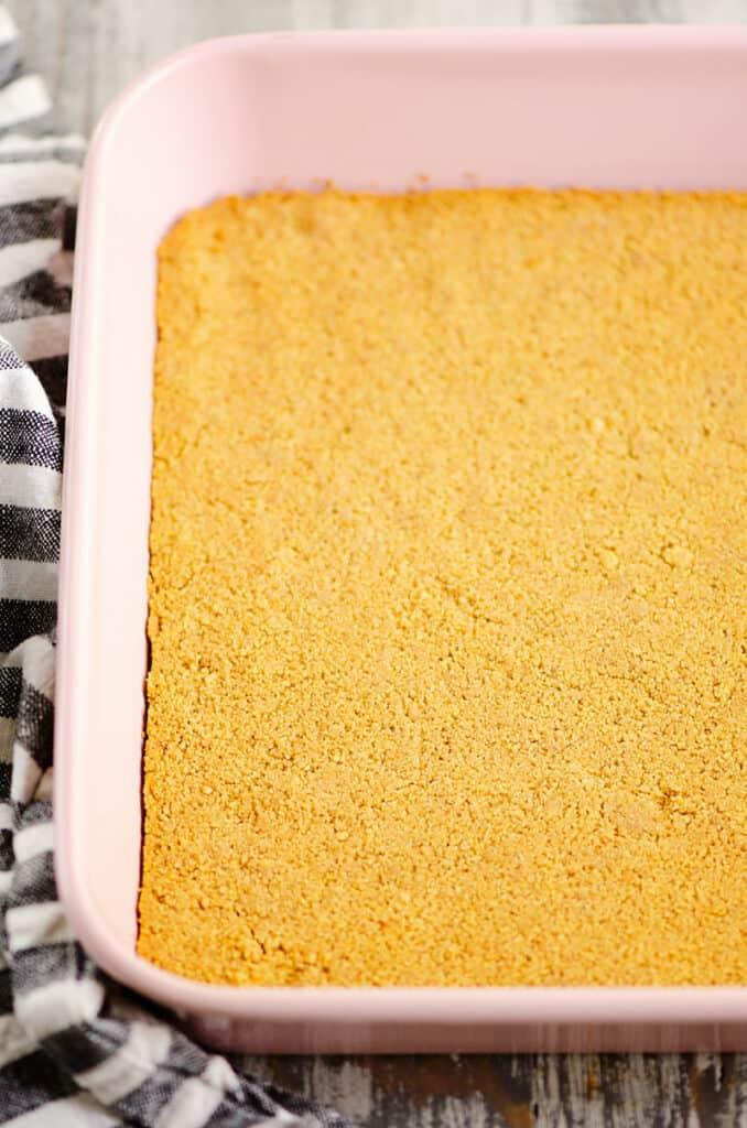 graham cracker crust in 9x9 pan