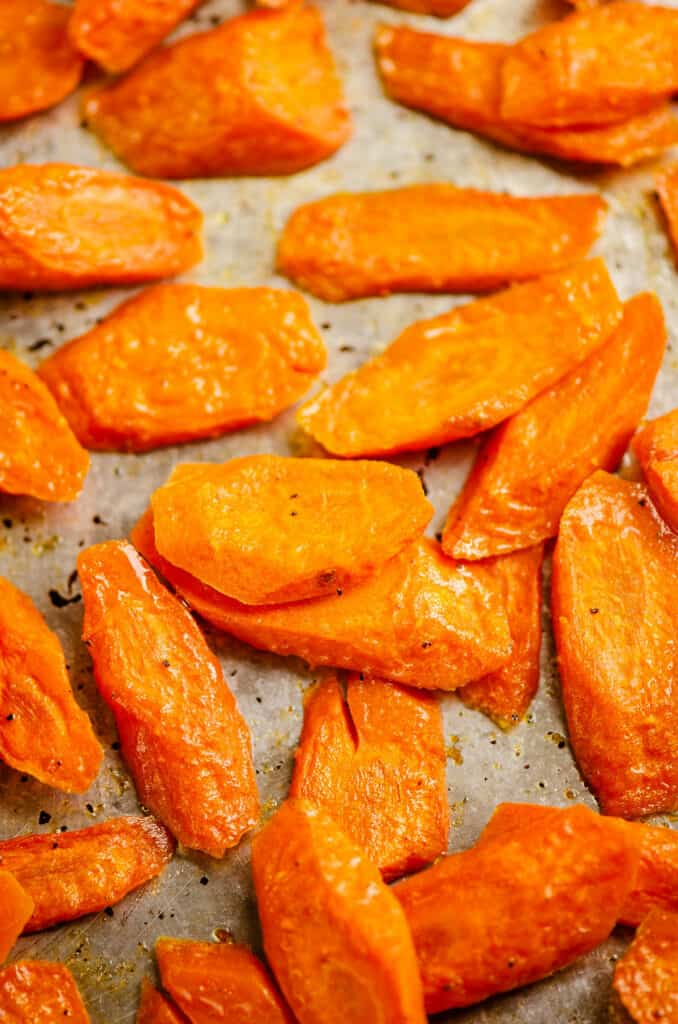 roasted carrot slices on pan