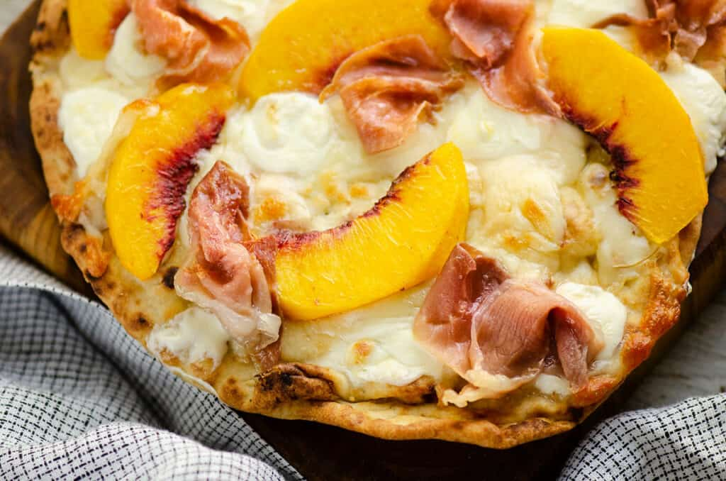 peaches and prosciutto on Naan Air Fryer pizza