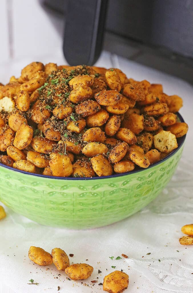 Taco Oyster Crackers in green bowl by Air Fryer