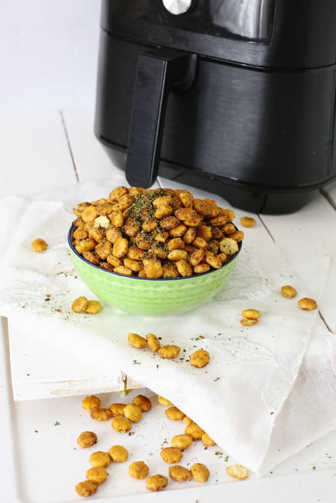 Taco Oyster Crackers in bowl with Air Fryer
