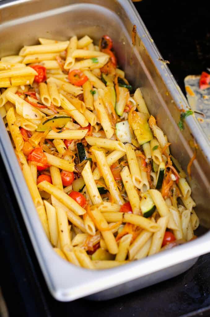 Pasta Primavera in hotel pan on Blackstone griddle
