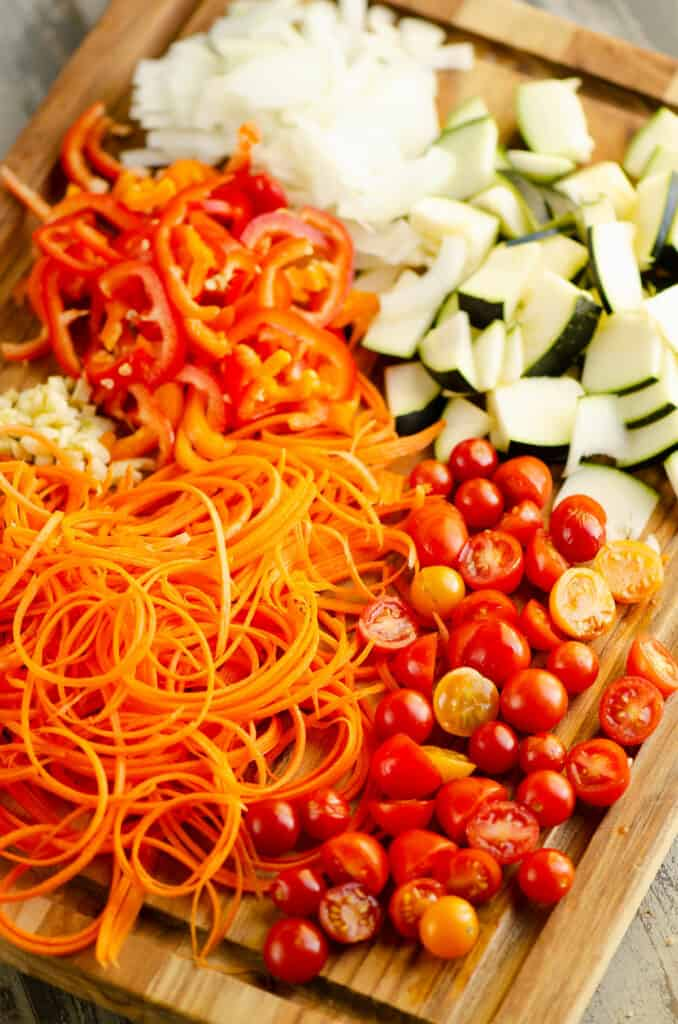 vegetables chopped on cutting board for Pasta Primavera