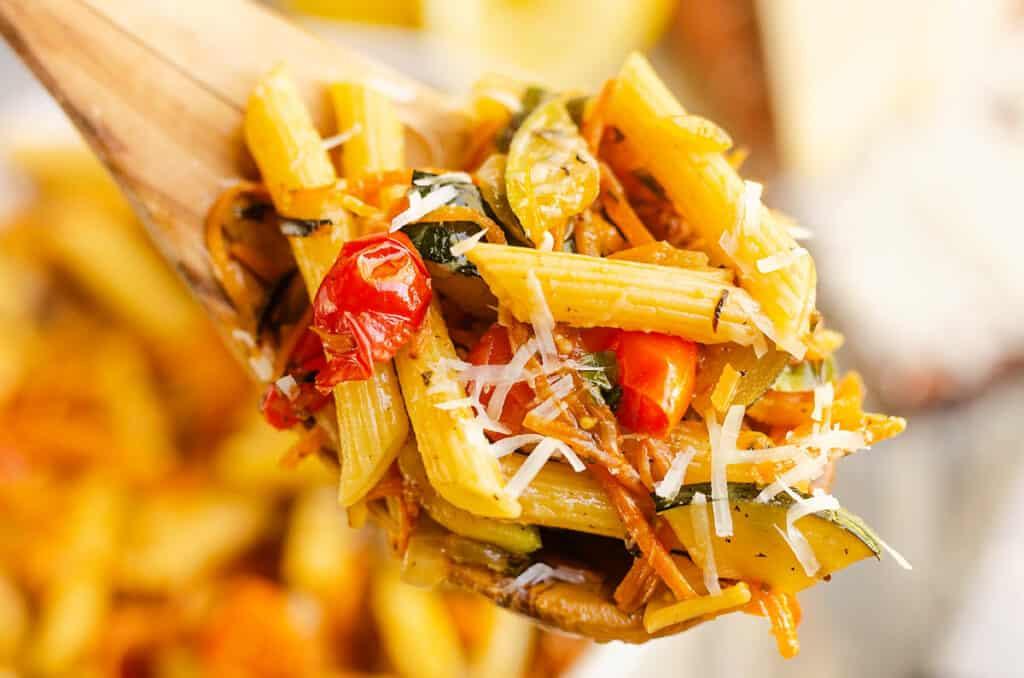Pasta Primavera on wooden spoon