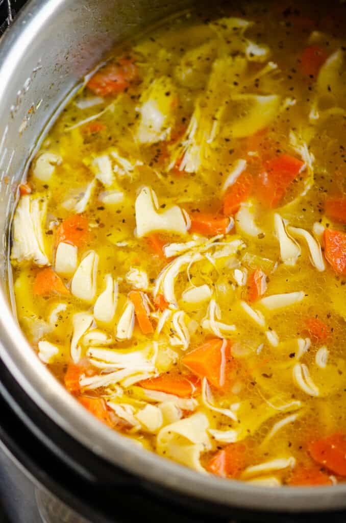 bowl of Greek chicken noodle soup in Instant Pot
