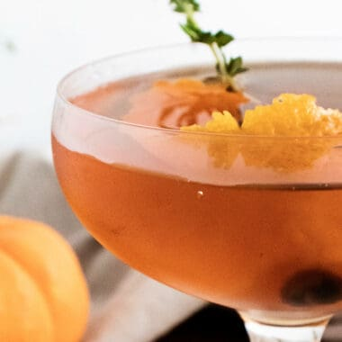 fall spiced old fashioned topped with orange peel