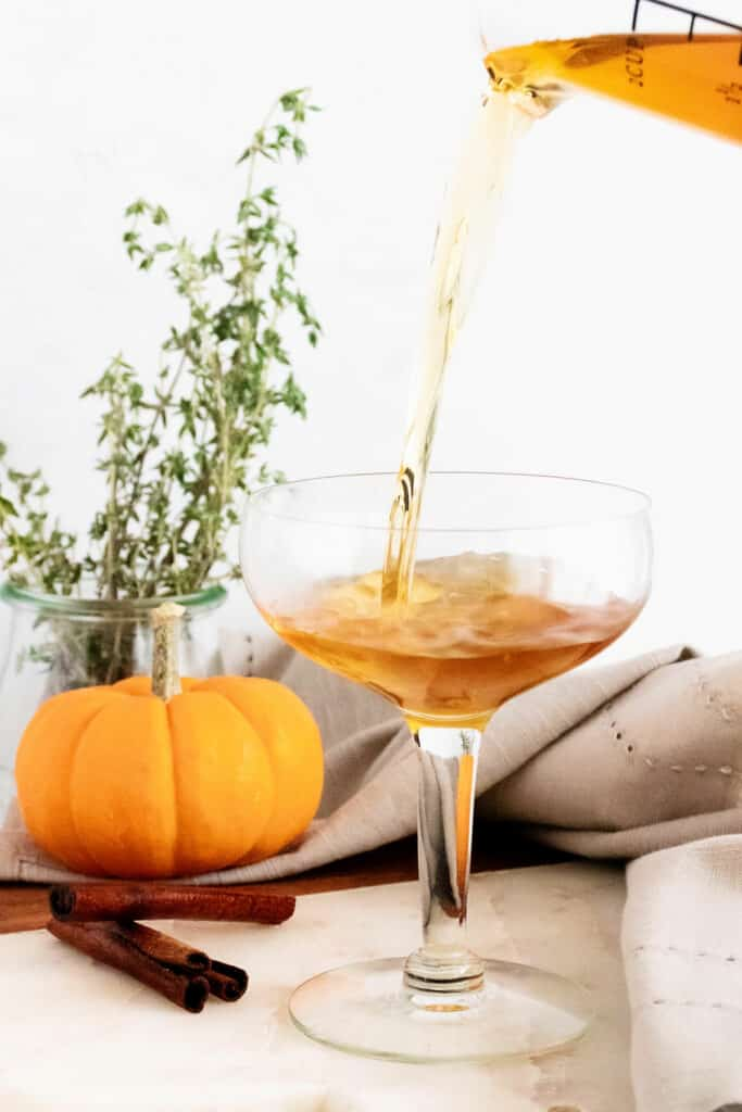 fall spiced old fashioned poured in glass